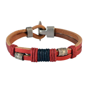 Sarah Men Double Strand Leather Bracelet Red color for Everyday wear