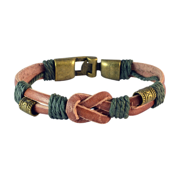 Sarah Men Double Strand Leather Bracelet Light Brown color for Everyday wear