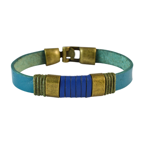 Sarah Men Strap Leather Bracelet Blue color for Everyday wear