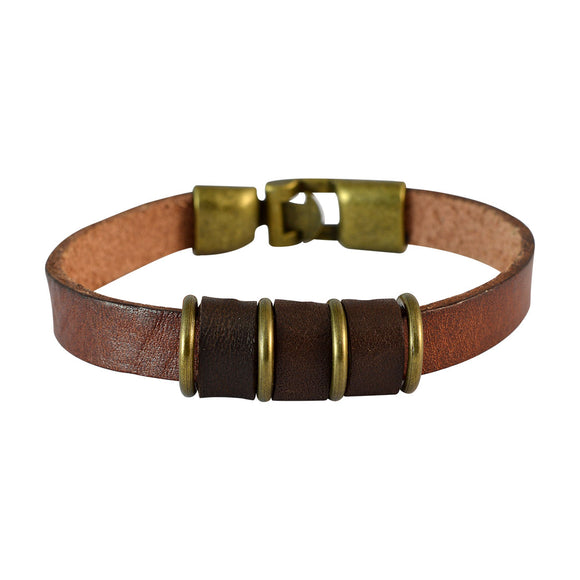Sarah Men Strap Leather Bracelet Brown color for Everyday wear
