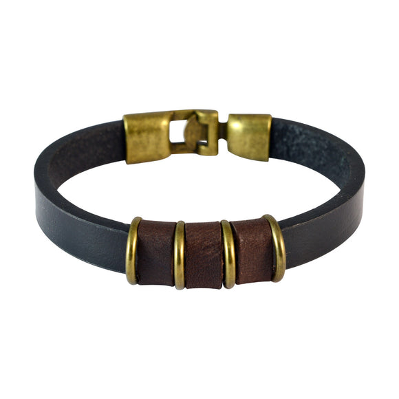 Sarah Men Strap Leather Bracelet Black color for Everyday wear