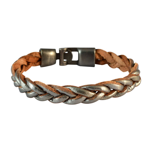 Sarah Men Braided Leather Bracelet Silver color for Everyday wear