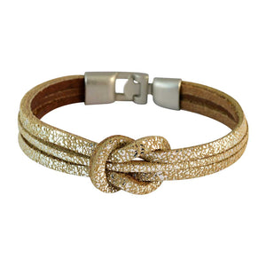 Sarah Men Multi-strand Leather Bracelet Gold color for Everyday wear