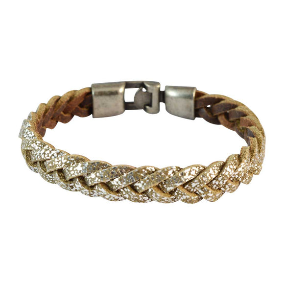 Sarah Men Braided Leather Bracelet Gold color for Everyday wear