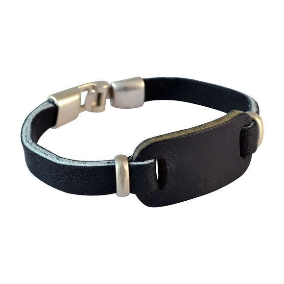 Sarah Men Leather Bracelet Black color for Everyday wear