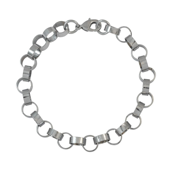 Sarah Silver Box Chain Metal Bracelet for Men