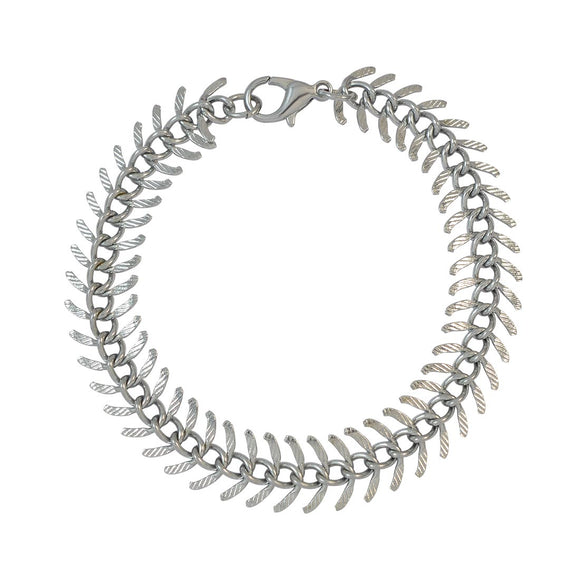 Sarah Silver Fish Spine Chain Metal Bracelet for Men