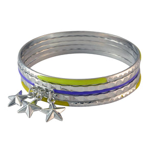Sarah Star Charms Bangles for Women - Silver