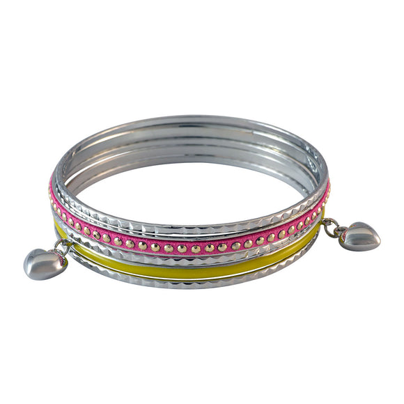 Sarah Heart Charms Bangles for Women - Silver