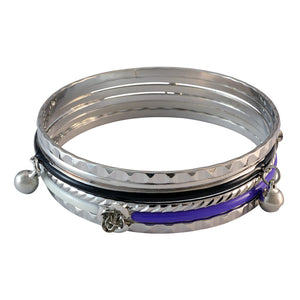 Sarah Bell Charms Bangles for Women - Silver