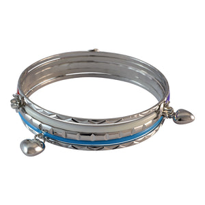 Sarah Heart Charms Bangles for Women - Blue