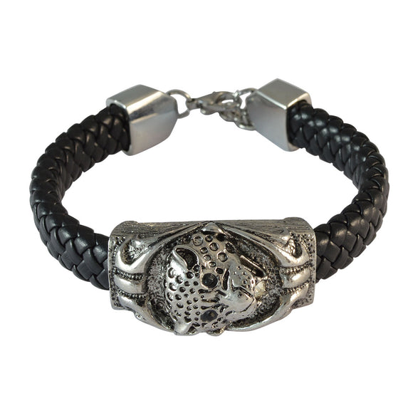 Sarah Black Cheetah Face Leather Bracelet for Men