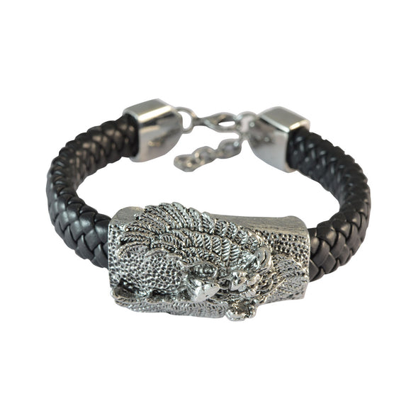 Sarah Black Flying Eagle Leather Bracelet for Men