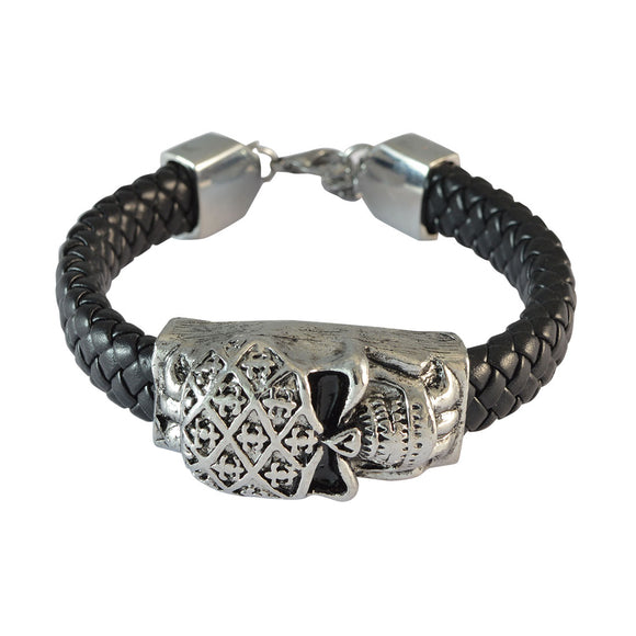 Sarah Black Skull Leather Bracelet for Men
