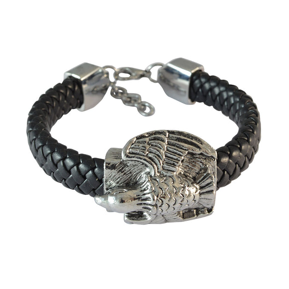 Sarah Black Eagle's Wing Leather Bracelet for Men