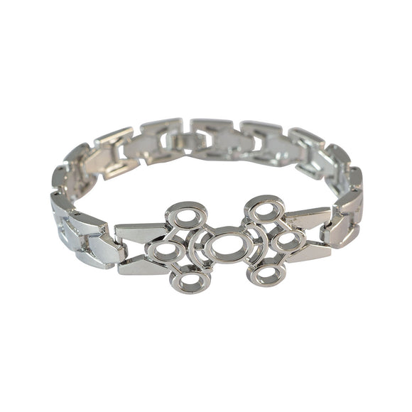 Sarah Silver Circular Design Metal Bracelet for Men
