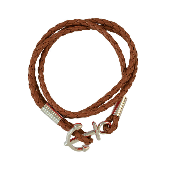 Sarah Brown Multi Strap with Anchor Faux Leather Bracelet for Men