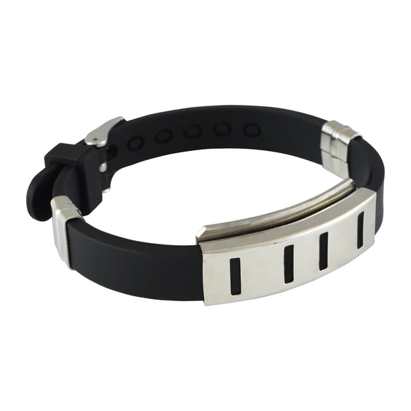 Sarah Stainless Steel Rubber Linear Design Adjustable Mens Bracelet - Black