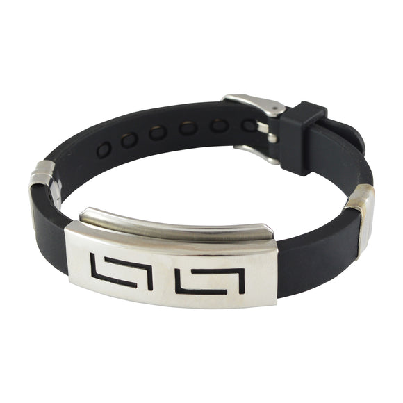 Sarah Stainless Steel Rubber Rectangles Adjustable Mens Bracelet - Black