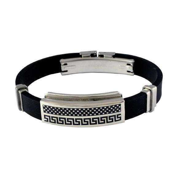 Sarah Stainless Steel Rubber Greek Key n Checks Adjustable Mens Bracelet - Black