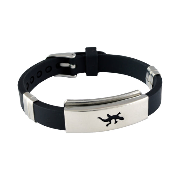 Sarah Stainless Steel Rubber Lizard Adjustable Mens Bracelet - Black