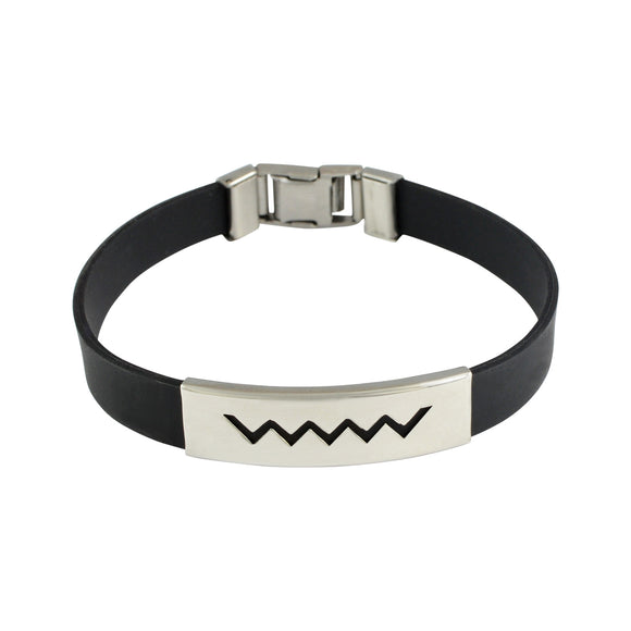 Sarah Stainless Steel Rubber Zigzag Adjustable Mens Bracelet - Black