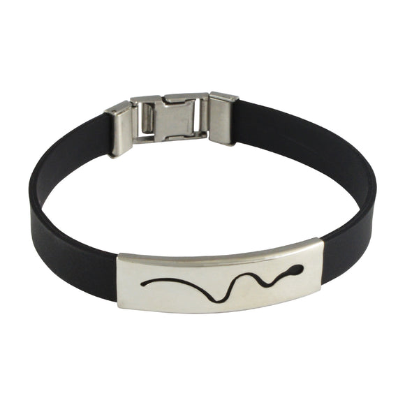 Sarah Stainless Steel Rubber Snake Adjustable Mens Bracelet - Black