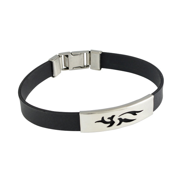 Sarah Stainless Steel Rubber Flame Adjustable Mens Bracelet - Black