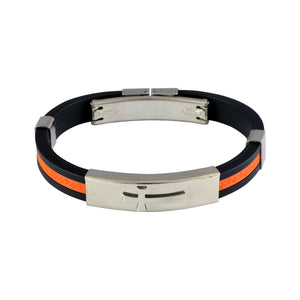 Sarah Stainless Steel Rubber Greek Key n Cross Adjustable Mens Bracelet - Orange