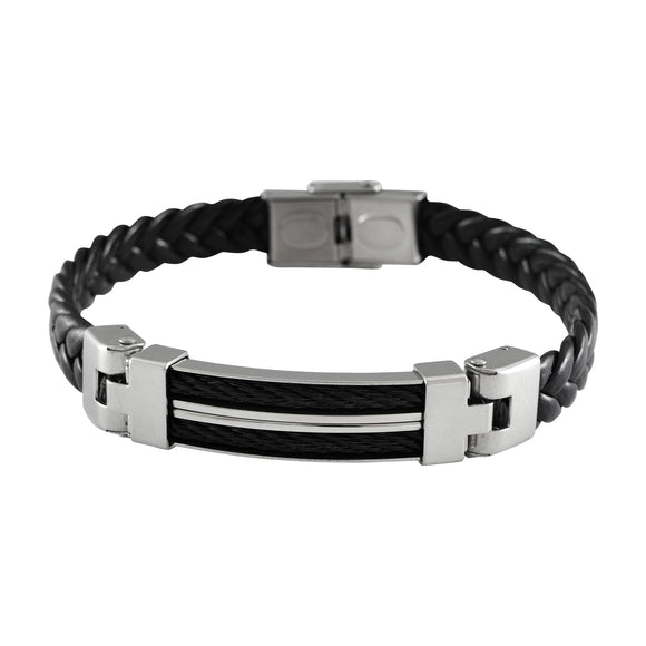 Sarah Leather Braided Adjustable Mens Bracelet - Black