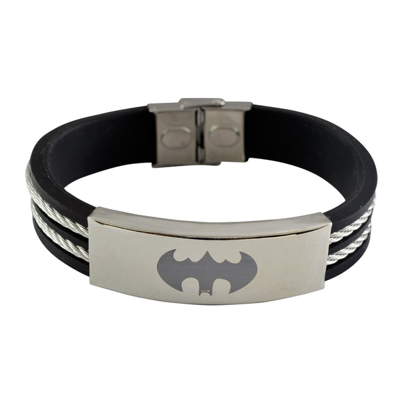 Sarah Stainless Steel Rubber Twisted Cable Batman Adjustable Mens Bracelet - Black