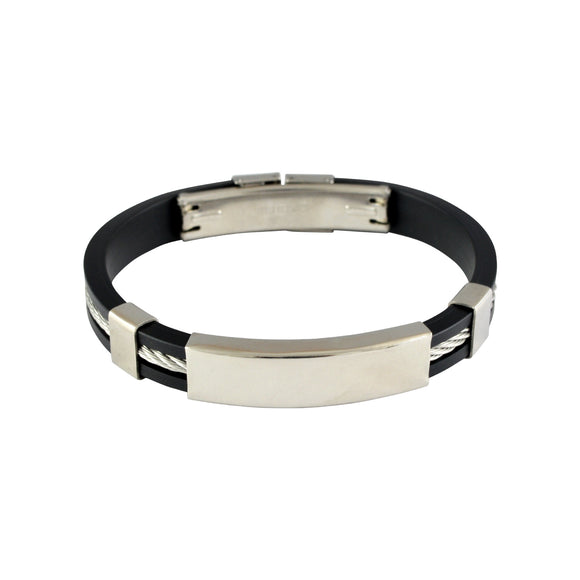 Sarah Stainless Steel Rubber Twisted Cable  Adjustable Mens Bracelet - Black