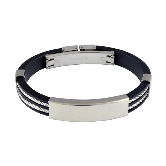 Sarah Stainless Steel Rubber Twisted Cable Double Strand Adjustable Mens Bracelet - Black