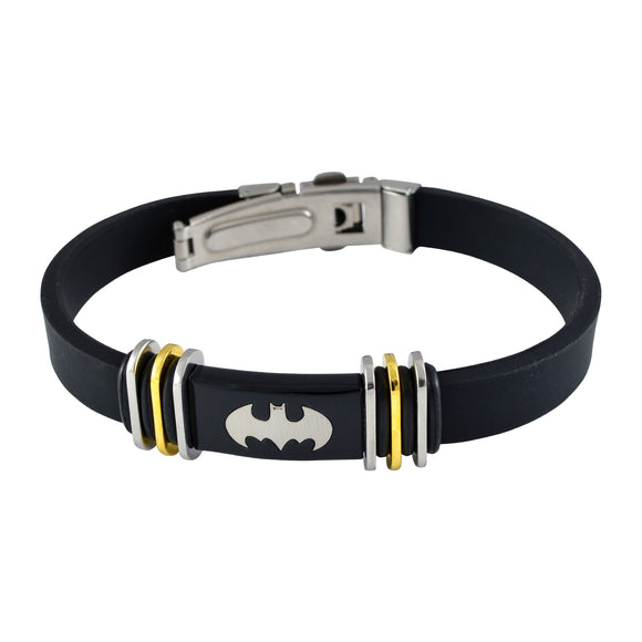 Sarah Rubber Batman Adjustable Mens Bracelet - Black