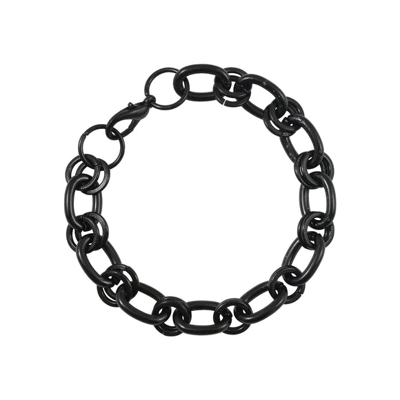Sarah Metal Interlock Link Chain Mens Bracelet - Black