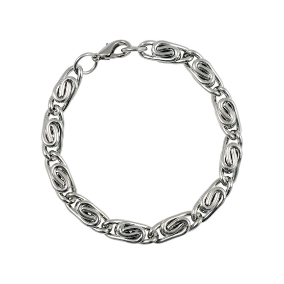 Sarah Metal Wire Wrap Chain Mens Bracelet - Silver