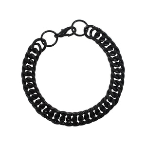 Sarah Metal Link Chain Mens Bracelet - Black