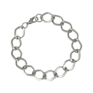 Sarah Metal Larger Link Chain Mens Bracelet - Silver