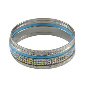 Sarah Solid Enamel & Faux Stones Studded Bangle Set for Women - Blue