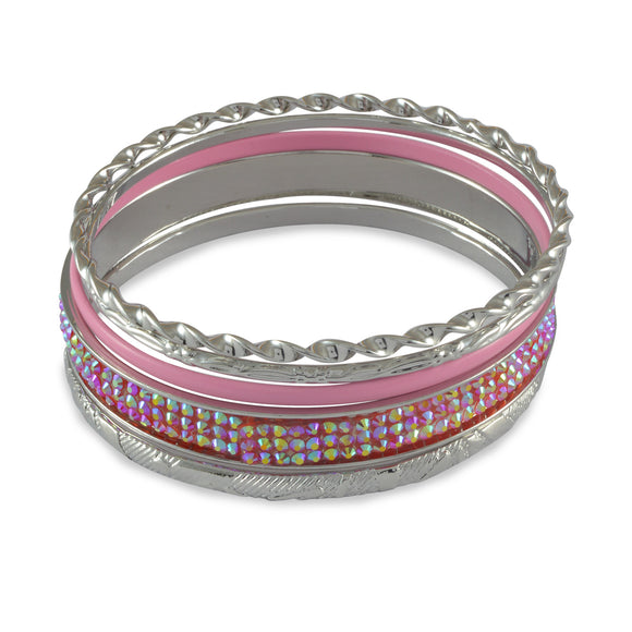 Sarah Solid Enamel & Faux Stones Studded Bangle Set for Women - Pink