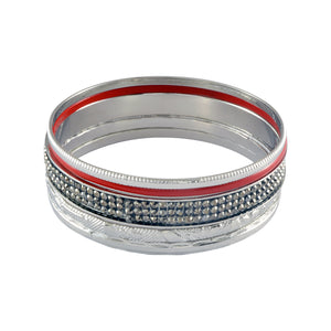 Sarah Solid Enamel & Faux Stones Studded Bangle Set for Women - Red