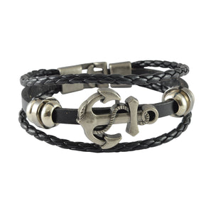 Sarah Leather Anchor Charm Multilayer Braided Mens Bracelet - Black