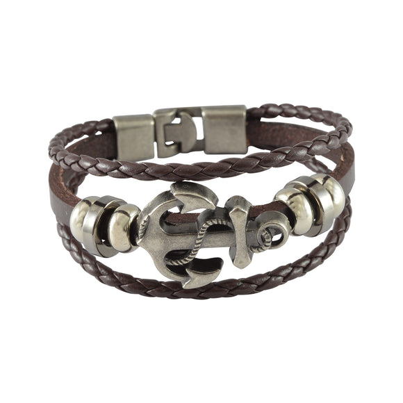 Sarah Leather Anchor Charm Multilayer Braided Mens Bracelet - Brown