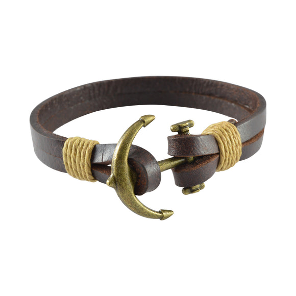 Sarah Leather Anchor Clasp Mens Bracelet - Brown