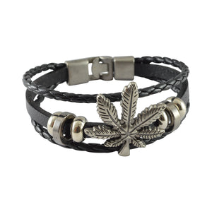 Sarah Leather Weed Leaves Multilayer Braided Mens Bracelet - Black