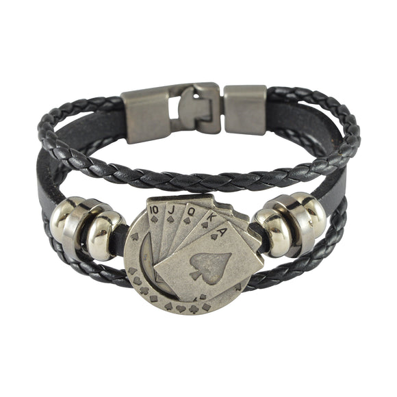 Sarah Leather Playing Cards Multilayer Braided Mens Bracelet - Black
