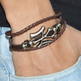 Sarah Leather Bead String Multilayer Mens Bracelet - Brown