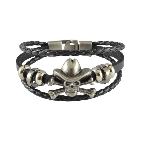 Sarah Leather Skull Multilayer Braided Mens Bracelet - Black
