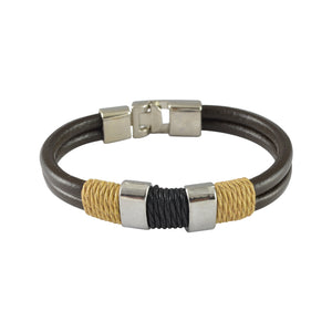 Sarah Leather Dual String Wrap Mens Bracelet - Brown