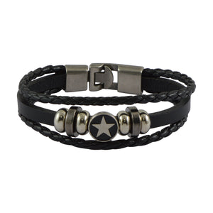Sarah Leather Star Multilayer Braided Mens Bracelet - Black